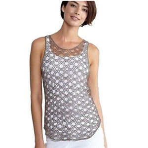 Taupe Linen Cotton Cord Sheen Loops Tank Top XS